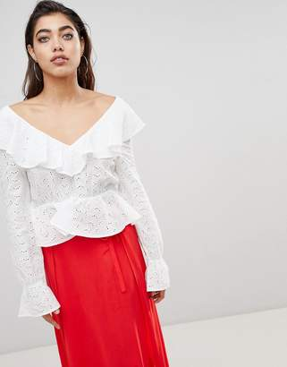 Ivyrevel Blouse in Anglais Lace with Deep V Back and Frills