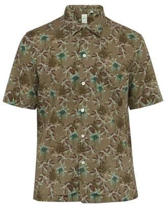 Finamore 1925 - Palm Print Short Sleeved Linen Blend Poplin Shirt - Mens - Green