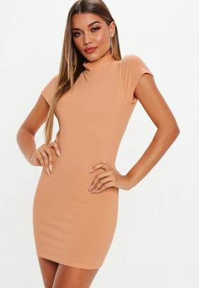 Missguided Camel Cap Sleeve High Neck Mini Dress