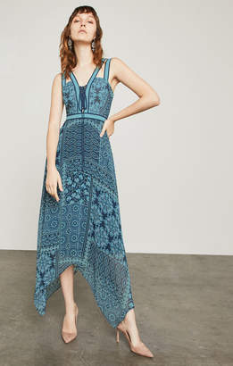 BCBGMAXAZRIA Floral Tile Patchwork Maxi Dress