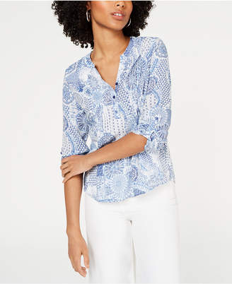 NY Collection Petite Printed Pintucked Shirt