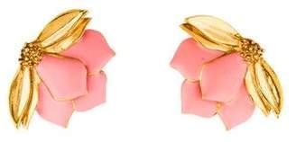 Oscar de la Renta Painted Wild Lotus Earrings