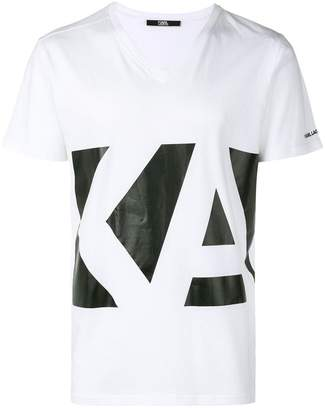 Karl Lagerfeld Logo V-Neck T-Shirt