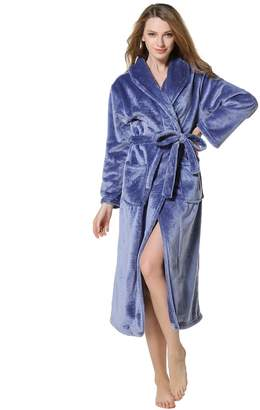 Cahayi Women Men Bathrobe Long Thick Plush Coral Fleece Robe Plus Size  Winter f905a8266