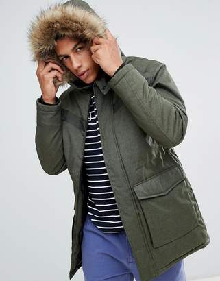 Jack and Jones Core parka with faux fur hood and hand warmer pockets