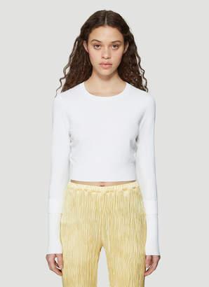 Sies Marjan Long Sleeve Fine Knit Crew Neck Sweater in White