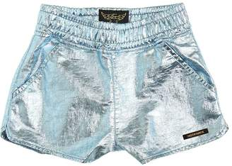 Finger In The Nose Metallic Coated Cotton Jersey Shorts
