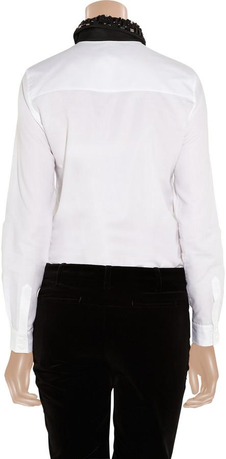 Tibi Embellished cotton shirt-style bodysuit