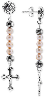 American West Dyed Freshwater Pearl (4mm) Cross Drop Earrings in Sterling Silver
