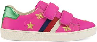 Gucci Children's bees and stars leather sneaker