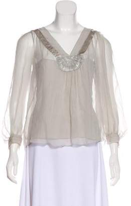 Alberta Ferretti Sheer Beaded Top
