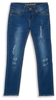 Vigoss Girl's Frey Hem Ankle Jeans