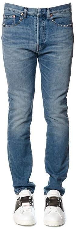 Valentino Rockstud Cotton Denim Jeans