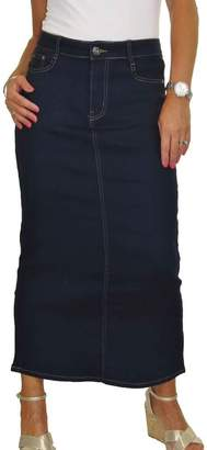 Ice Long Jeans Skirt Stretch Denim Soft Wash Smooth 8-18