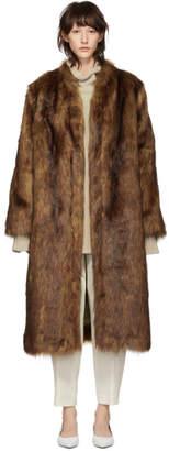 Nanushka Brown Faux-Fur Pas Coat