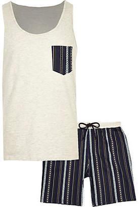 River Island Ecru aztec shorts pajama set