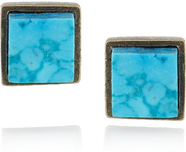 Kelly Wearstler Turquoise cube stud earrings