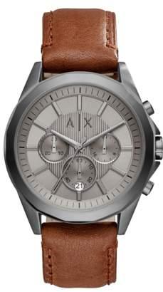 Armani Exchange Chronograph Leather Strap Watch, 44mm