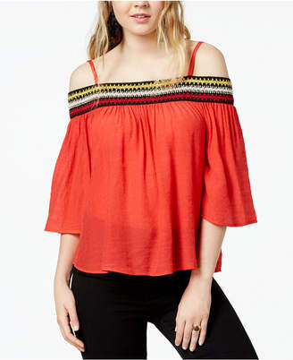 BCX Juniors' Embroidered Off-The-Shoulder Blouse