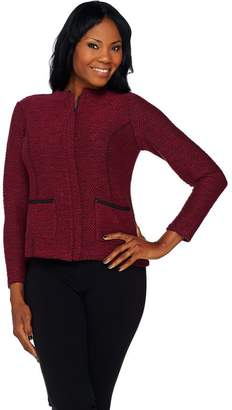 Joan Rivers Classics Collection Joan Rivers Popcorn Knit Zip Front Jacket w/ Faux Leather Detail