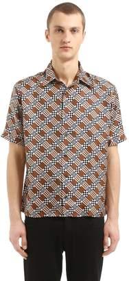 Fendi Signature Ff Silk Satin 70's Shirt