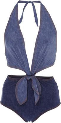 Karla Colletto Louise Cutout Denim Swimsuit Size: 6