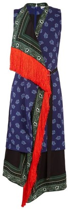 Altuzarra Bina Sleeveless Scarf Print Stretch Cady Dress - Womens - Blue Multi