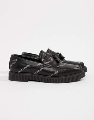 Asos Design DESIGN Creeper Loafers In Black Leather With And Chase The Night Print