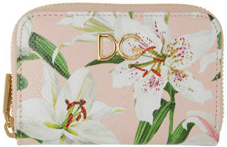 Dolce & Gabbana Pink Lily Zip Card Holder