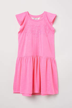 H&M Jersey Dress with Embroidery - Pink