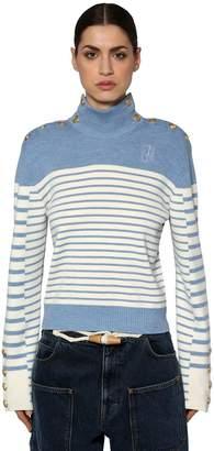 J.W.Anderson Striped Wool Knit Sweater W/ Buttons