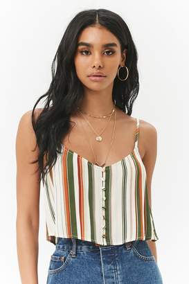 Forever 21 Multicolor Striped Crepe Button-Front Cropped Cami