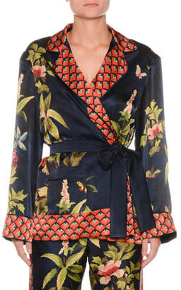 F.R.S For Restless Sleepers Jungle Foliage Needlepoint Silk Crepe Wrap Blouse Jacket w/ Border