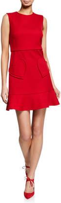 RED Valentino Sleeveless Ruffle-Bottom Dress with Heart Pockets