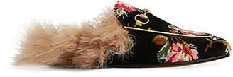 Gucci Women's Princetown Floral Velvet Slippers - Black