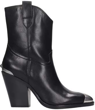 Ash Elvis Ankle Boots In Black Leather
