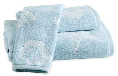 Destinations Coastal Shell Fingertip Towel in Blue
