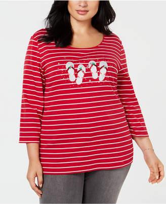 Karen Scott Plus Size Cotton Holiday Flip-Flop T-Shirt