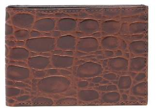 Bosca Victoria Croc Embossed Leather Slim Bi-Fold Wallet