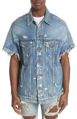 R 13 Oversized Cutoff Denim Jacket