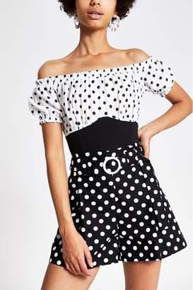 River Island Womens Black Spot Puff Sleeve Bardot Print Top - Black