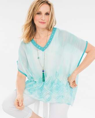 Chico's Chicos Aqua Dyed Lace-Detail Poncho