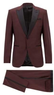 BOSS Hugo Slim-fit tuxedo in virgin wool silk trims 36R Dark Purple