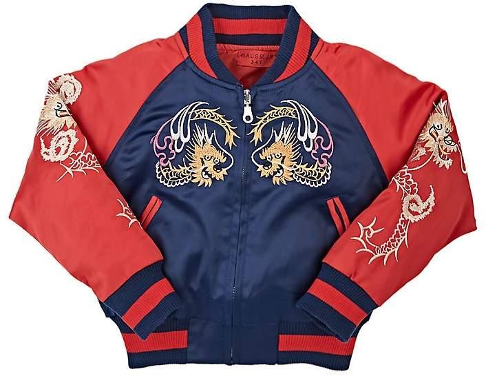 Haus of JR Wyatt Embroidered Tech-Satin Bomber Jacket