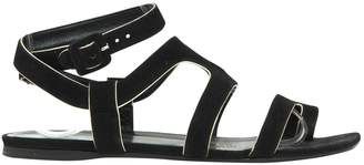 Hermes Black Suede Sandals