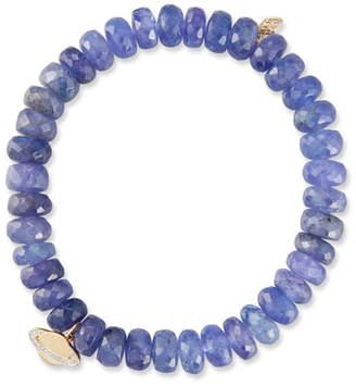 Sydney Evan Tanzanite Rondelle Bead Bracelet w/ 14k Saturn Charm