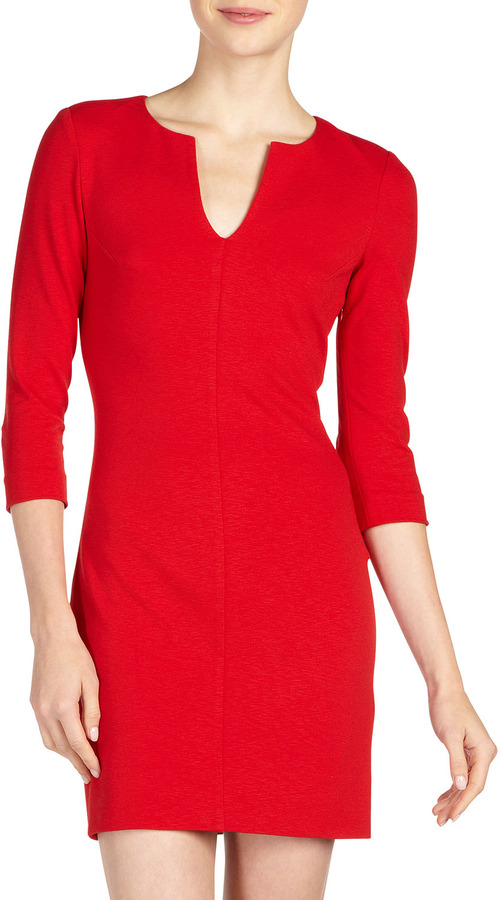Diane von Furstenberg Aurora Knit Minidress, Cherry Rose