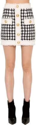 Balmain Fringed Houndstooth Mini Skirt
