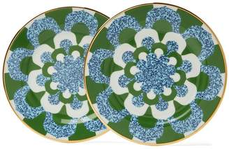 LA DOUBLE J Mosaic-print porcelain dessert plates