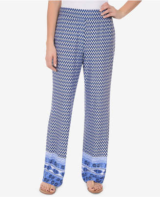 NY Collection Contrast-Trim Pull-On Pants